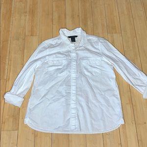 Calvin Klein White Linen Button Up